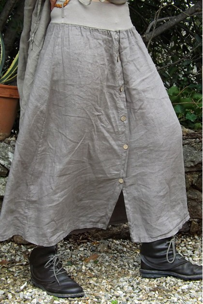 Jupe longue en lin avec ceinture lastique - Le dressing de bea ...