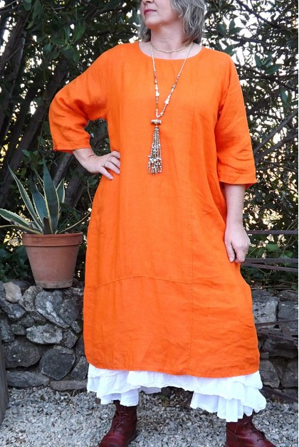 ROBE EN LIN ANGELINE COULEUR ORANGE