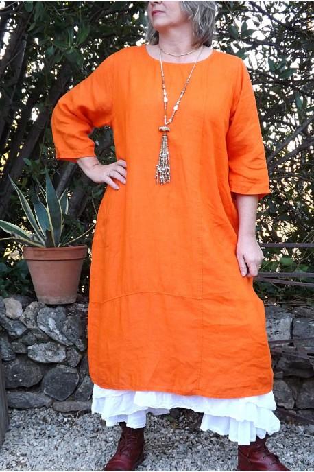 Robe longue en lin grande taille manches 3 4 - Le dressing de bea ...