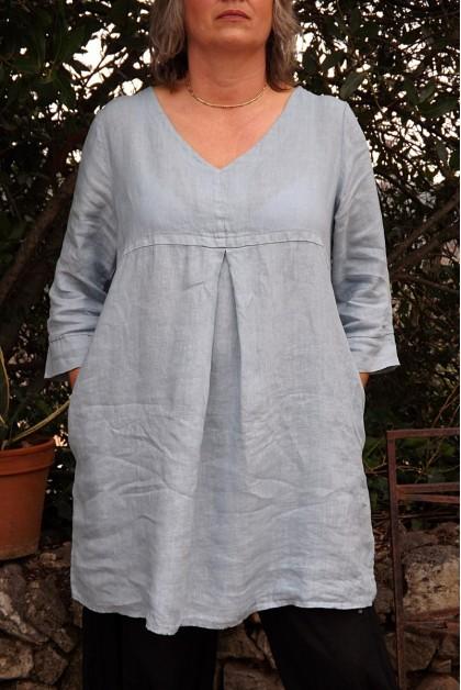 ROBE / TUNIQUE LIN COL V BLANDINE DE COULEUR BLEU GRIS