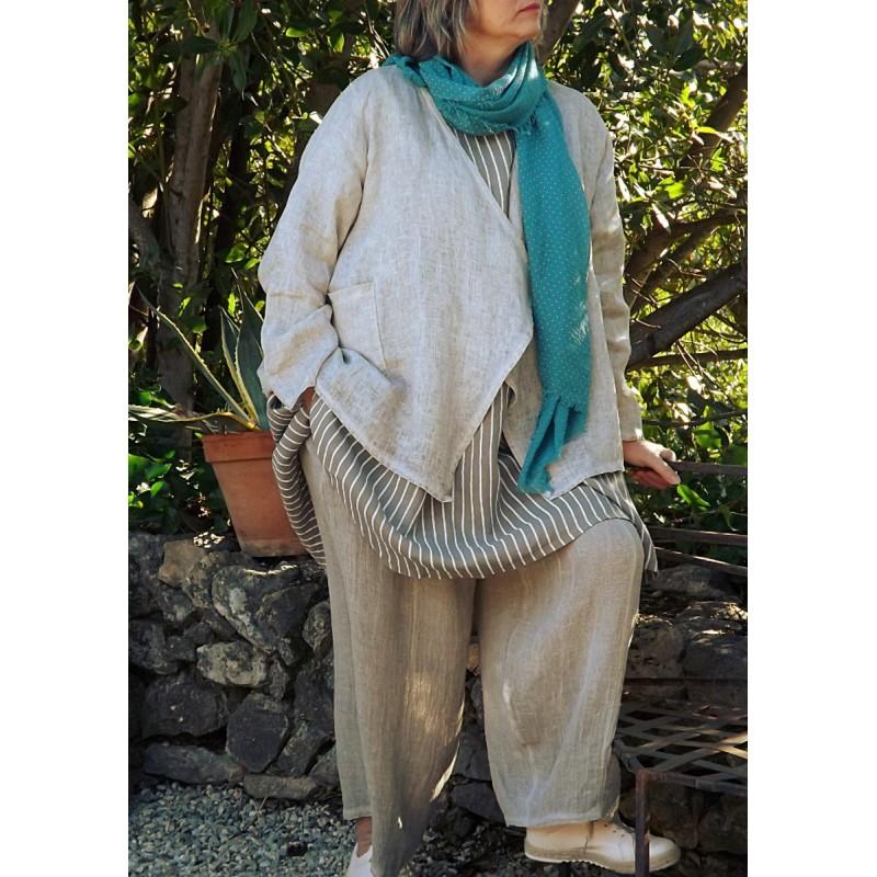 Veste courte en lin grande taille - Le dressing de bea ...
