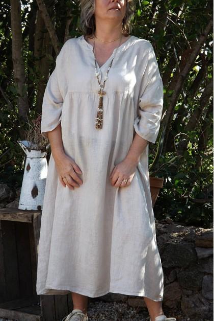 Robe longue en lin grande taille manches 3 4 de couleur beige - Le dressing de bea ...