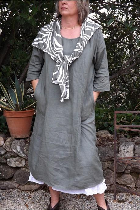 Robe longue en lin grande taille manches 3 4 de couleur kaki - Le dressing de bea ...