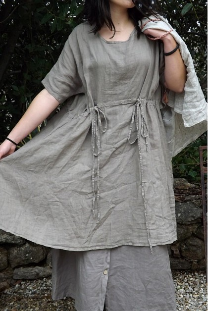 ROBE EN LIN ANGELE COULEUR TAUPE