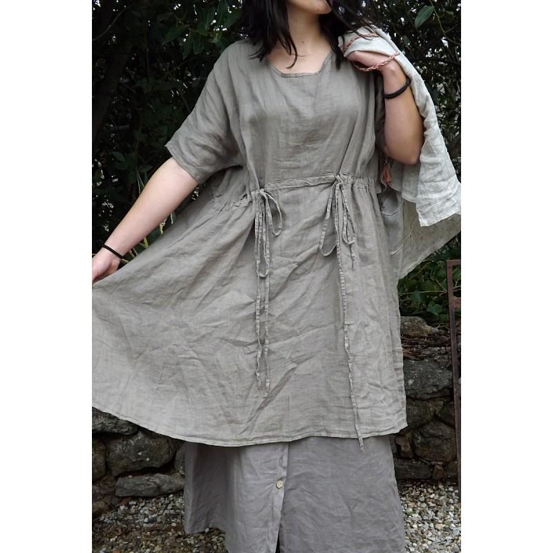Robe en lin grande taille de couleur taupe - Le dressing de bea ...