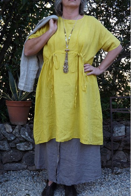 ROBE EN LIN ANGELE COULEUR TOURNESOL