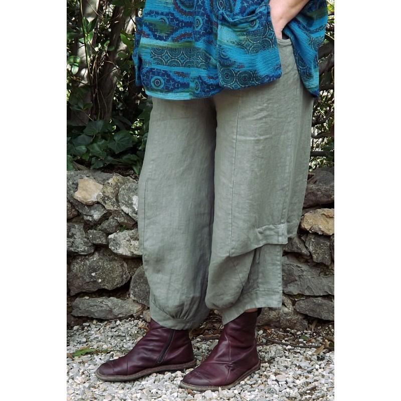 Pantalon lin grande taille good pantalon en lin hector couleur kaki with pantalon lin grande - Le dressing de bea ...