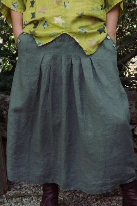 jupe en lin grande taille de couleur kaki avec plis nervur s. Black Bedroom Furniture Sets. Home Design Ideas