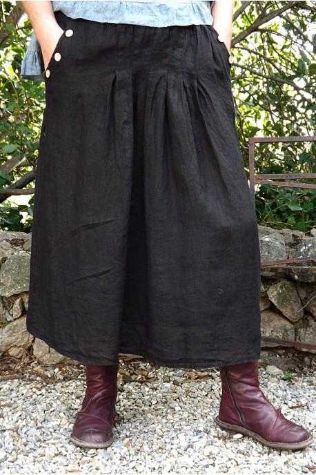 jupe en lin grande taille de couleur noire avec plis nervur s. Black Bedroom Furniture Sets. Home Design Ideas