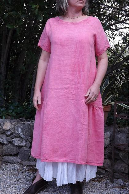 Robe lin framboise Elicia