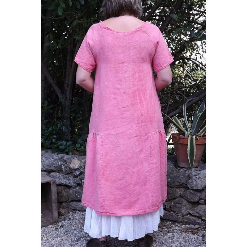 Robe longue en lin de couleur framboise - Le dressing de bea ...