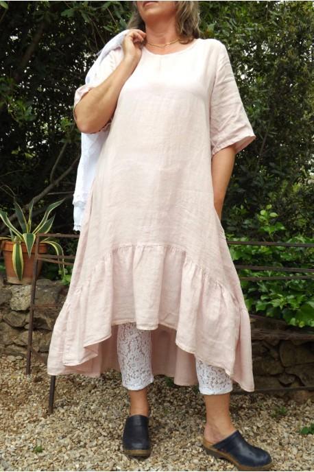 Nouvelles Arrivées e6ac3 815ad Robe longue en lin bohème chic de couleur rose