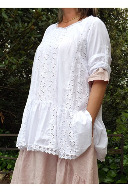 TUNIQUE BRODERIE ANGLAISE BLANCHE EMILIENE