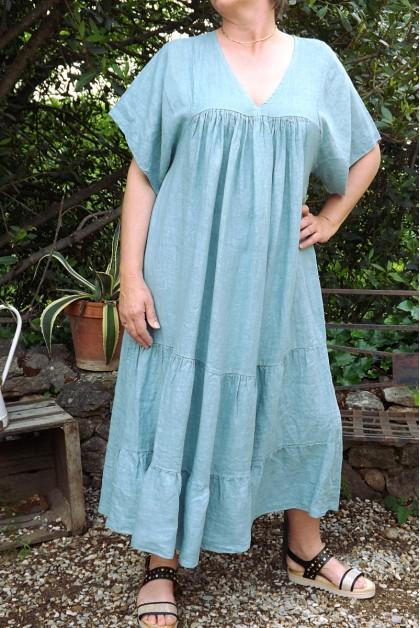 Robe longue lin Anastasia bleu menthe