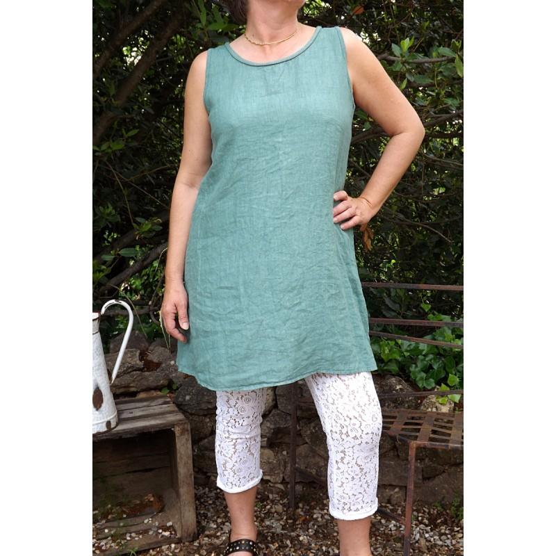 Robe en lin ou tunique lin vert provence - Le dressing de bea ...