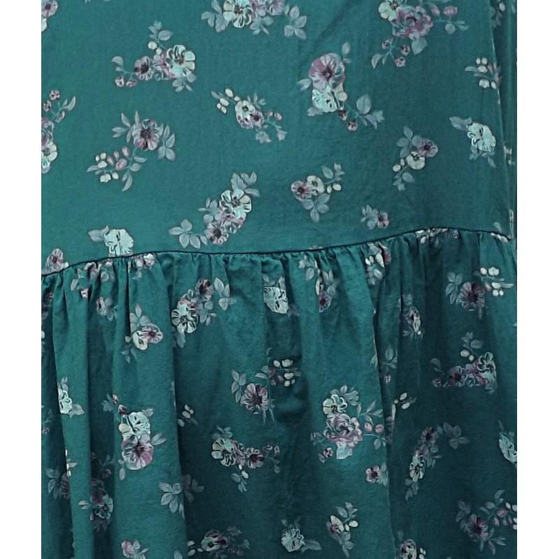 robe longue en coton grande taille imprim fleurs sur fond vert bouteille. Black Bedroom Furniture Sets. Home Design Ideas