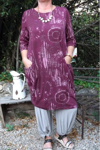 ROBE LONGUE MANCHES 3/4 AGNES BORDEAUX