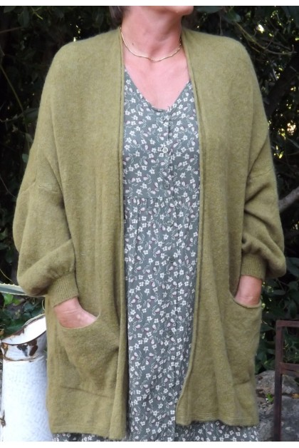 GILET MAILLE FINE ACHILE VERT OLIVE