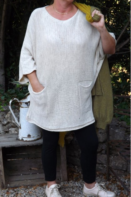 PULL LONG CHINE SIMON BEIGE ET JEGGING NINO