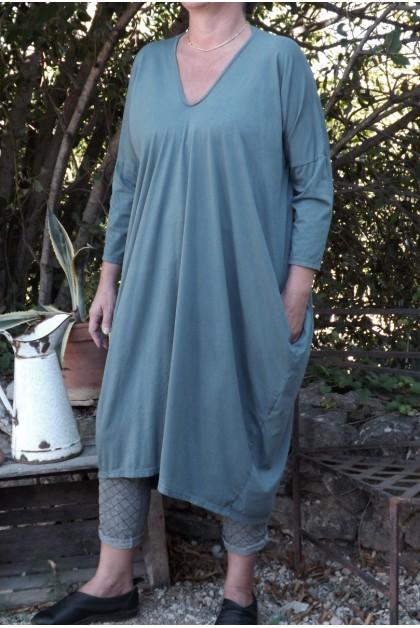 Robe grande taille Gladys bleu acier