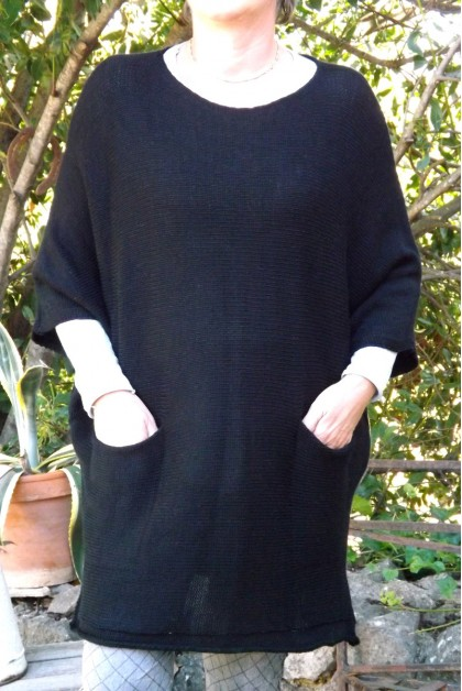 PULL LONG CHINE SIMON NOIR