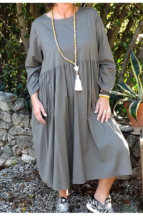f4e26e96777da Robe longue à manches longues taupe