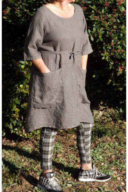 Robe tablier lin taupe Marielle