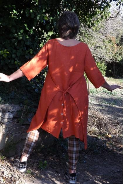 Robe tablier lin orange brulée Marielle