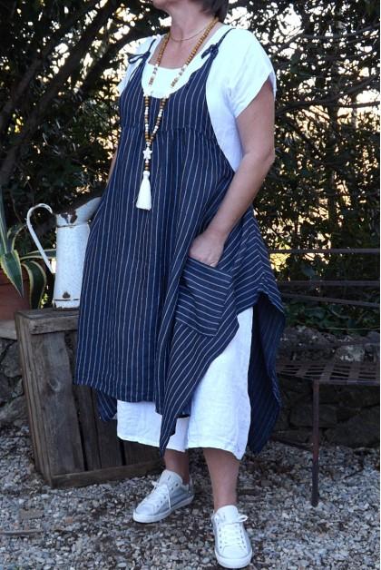 ROBE TABLIER LIN SOPHIE MARINE