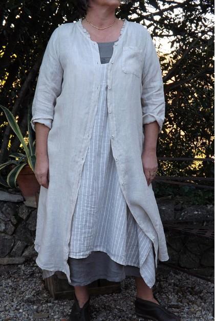 Veste ou robe lin Clémence beige