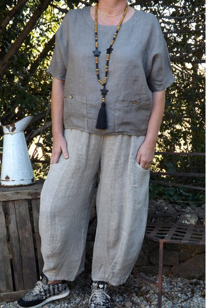 Pantalon bi-matière lin coton beige Charles
