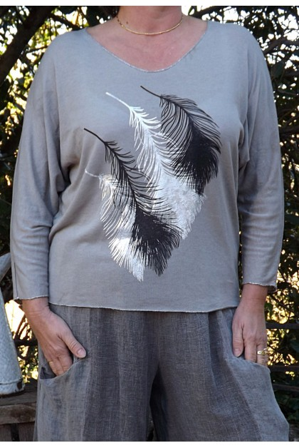 T SHIRT PLUME TAUPE