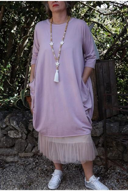 Robe grande taille coton rose poudré Romane