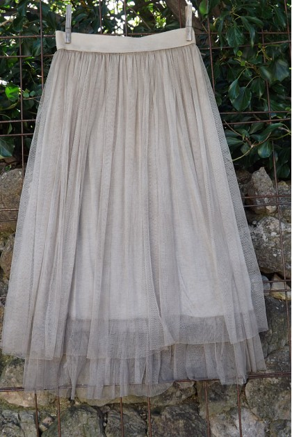 JUPON TULLE TAUPE FLORENT