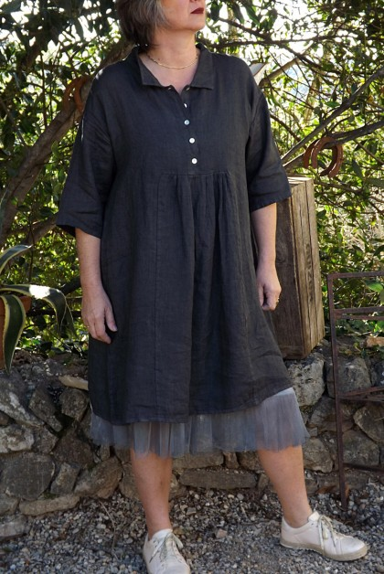 ROBE LIN ARMELLE ANTHRACITE