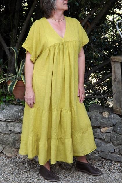 Robe longue lin Anastasia jaune printemps