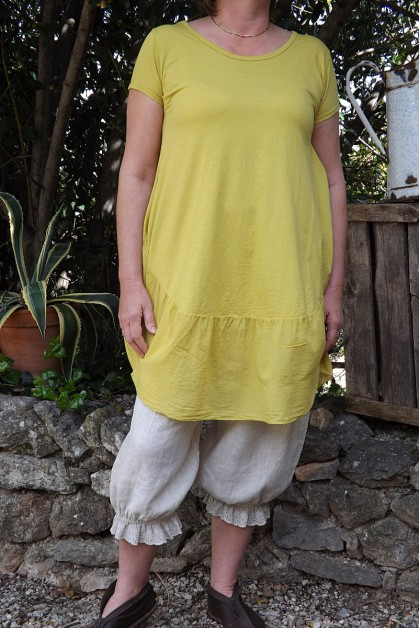 Robe ou tunique coton jaune printemps Sylvia