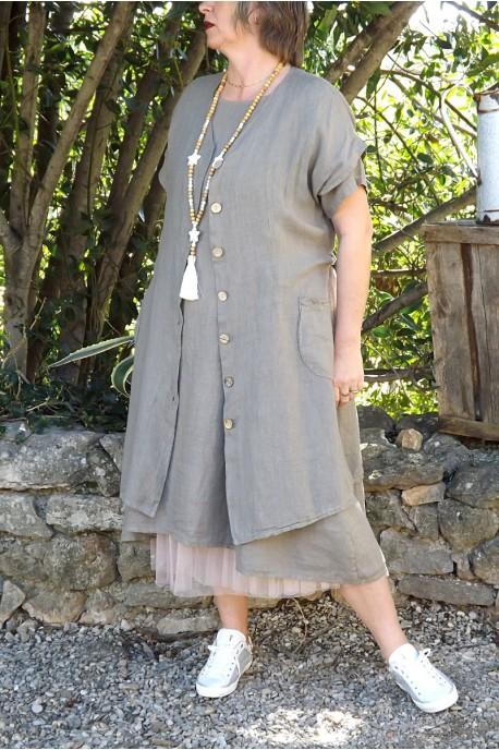 Robe Veste En Pour Longue Ou Taille Lin Grande Femme A5j4RL3