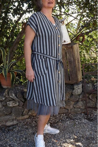 Veste ou robe lin à rayures Clara