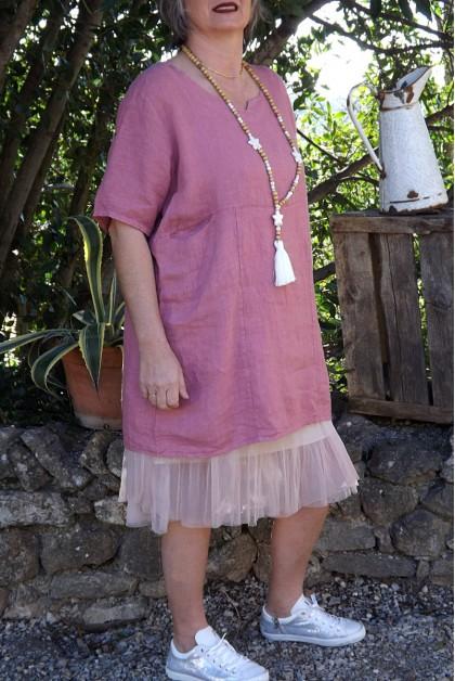 ROBE / TUNIQUE EN LIN ELISA AUBERGINE
