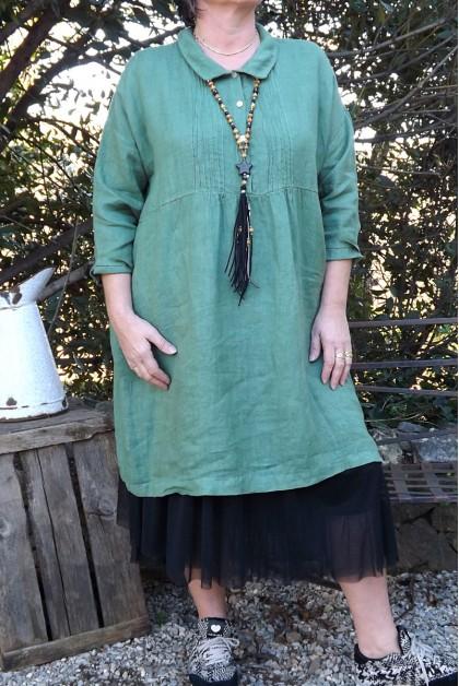 Robe lin grande taille vert olive Anthéa