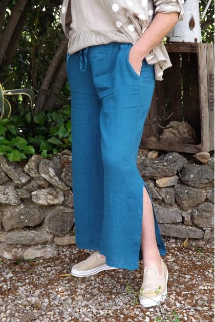 Pantalon lin bleu canard César