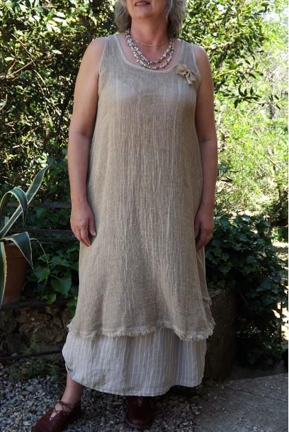 Robe maille lin coton ambre délavé Daphné