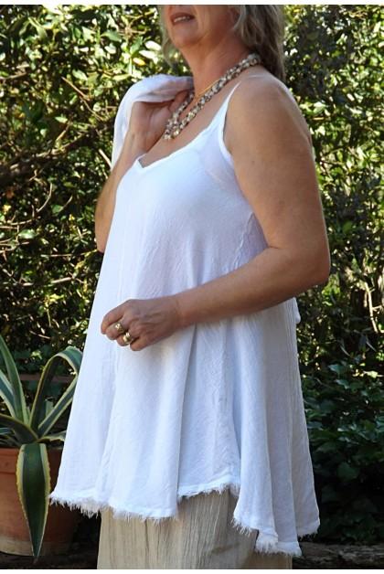 Tunique maille lin coton blanche Estelle