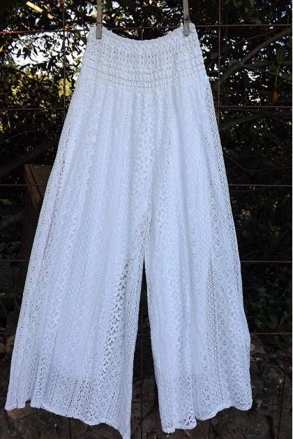 Pantalon dentelles blanc Valentin