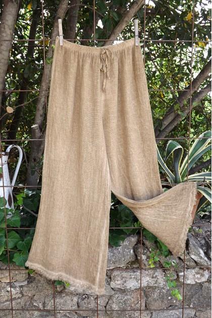 Pantalon maille lin coton canelle Auguste