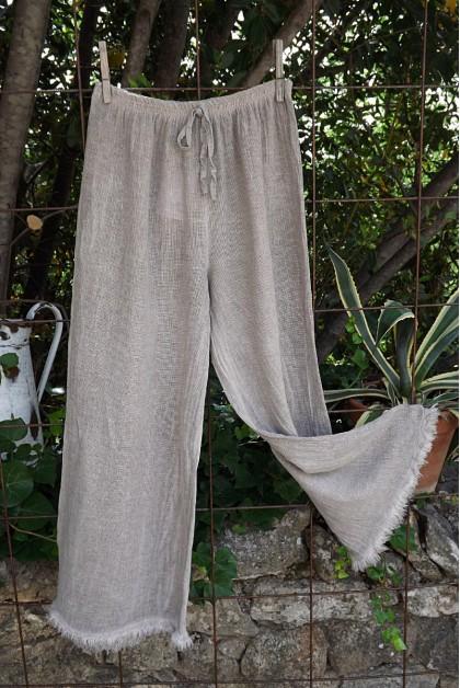 Pantalon maille lin coton taupe Auguste