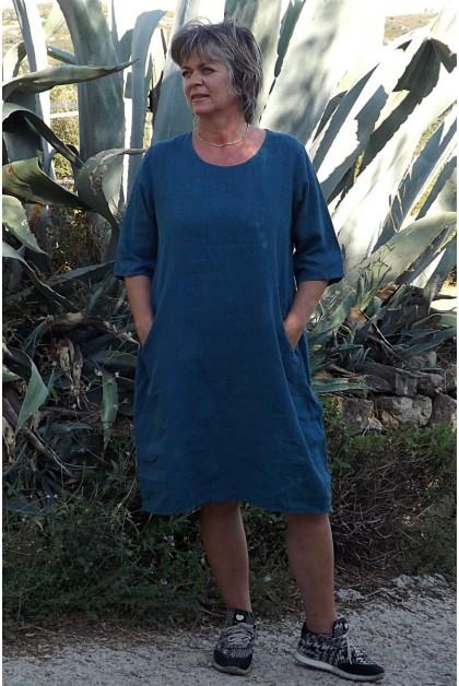 Robe lin bleu inca Eva