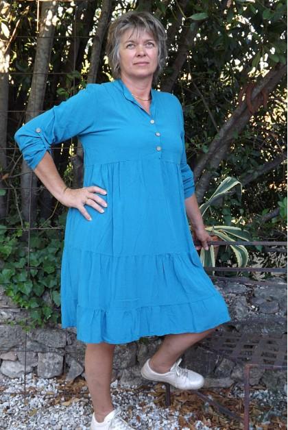 Robe ou tunique manches longues Ines bleu canard