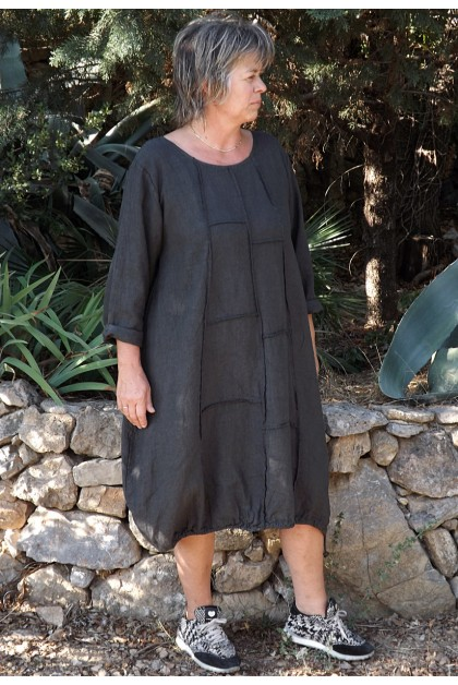 Robe lin manches longues anthracite Sidonie